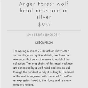 94f95d243 Gucci Jewelry   Anger Forest Wolf Necklace   Poshmark